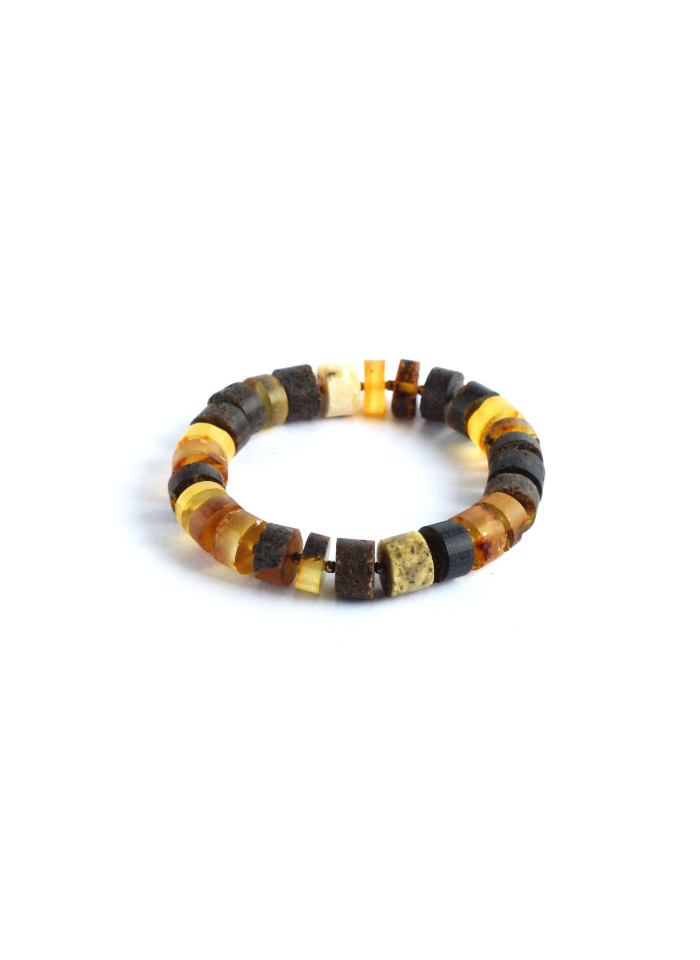 Natural Baltic Amber Bracelet with Silver Baltic Amber Bracelet Unpolished Amber Bracelet Bernstein Armband Raw Amber Bracelet